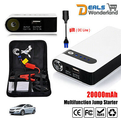 20000mAh Portable Car Jump Starter Booster Charger Battery Power Bank Engine 12V