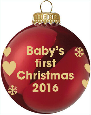 Baby's First Christmas 2016 - Red Christmas Tree Bauble - 1st Xmas Gift