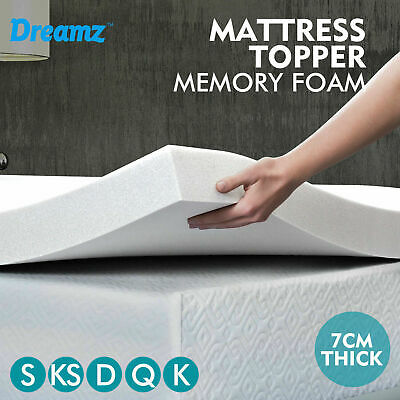 7cm Memory Foam Mattress Topper Polyester Underlay Cover Protector All Sizes