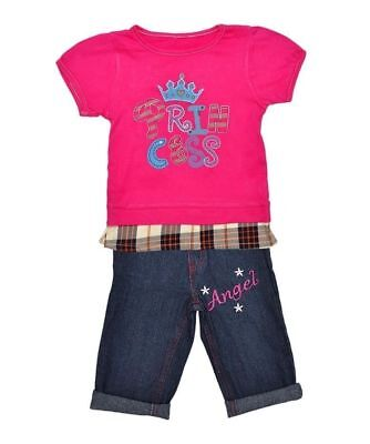 Girl T-Shirt & Jeans Princess Angel Pink Top Set Outfit age 2 3 4 years 2 piece