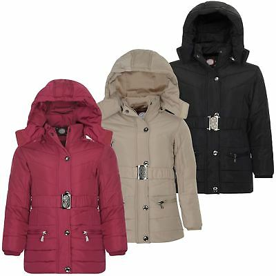 Girls Long Quilted Winter Jacket Kids Belted Detach Hood Padded Zip Coat 3-14 Y