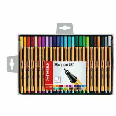 STABILO Point 88 Fineliner Ballpoint Assorted Colours Pens Wallet of 25
