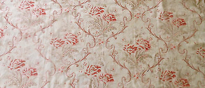 Antique French Floral Scroll Cotton Fabric ~ Soft Red Pink Sage~ #3