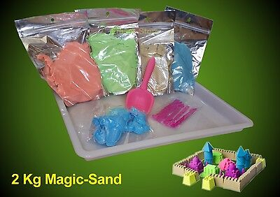 2 Kg Magic Sand, Indoor Sand ,8 Formen+5 Spachtel+1 Schale, Super Sand