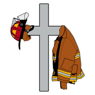 Cross with Firefighter's Coat and Helmet Reflective Decal Sticker Small Size