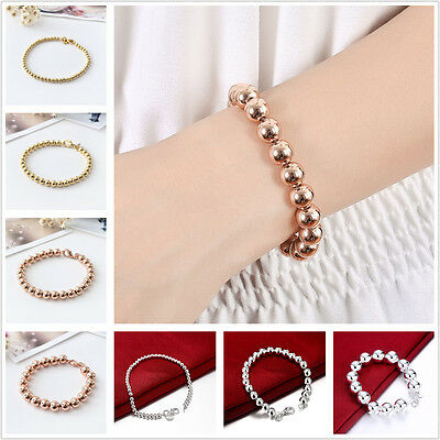 Stunning 925 Silver / Gold Filled Classic Solid Ball Beads Charm Bracelet Chain