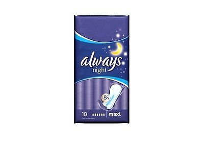 Always Maxi Sanitary Towels Night Without Wings 10pk Case Of 4