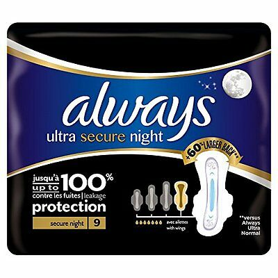 Always Ultra Secure Night Sanitary Towels with Wings - Single Pack 9 Pads