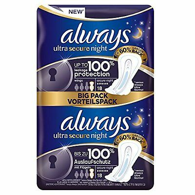 Always Ultra Secure Night Sanitary Towels with Wings Pack of 2 18x2