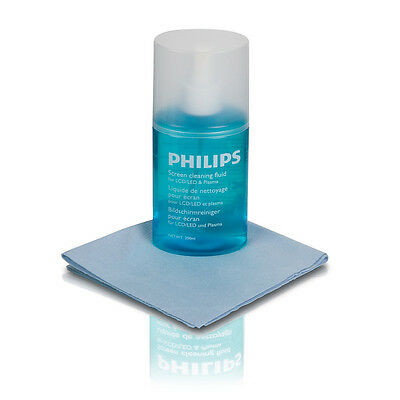 Philips 200ml Cleaning Fluid with Cloth for TV Laptop PC Screens - NEW