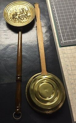 Vintage Pair of English Peerage Bed Warmers Wall Decor Repro Brass Embossed