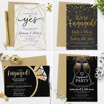 Premium Personalised Engagement Party Invitations Invites with FREE Envelopes