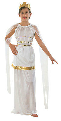 Greek Goddess Athena Ancient Greece Kids Childs Fancy Dress Costume Toga 6-8