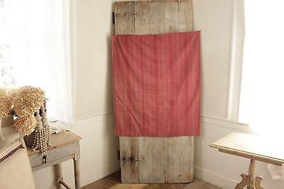 Antique French stripe c1830 matieral  Furnishing fabric red cotton stripe ~