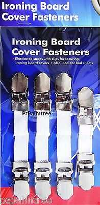 4 Ironing Board Cover Clip Fasteners Elastic Strap Grip Tight Bed Sheets Secure