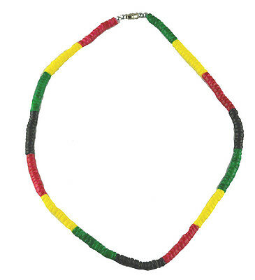 Puka Shell Rasta Necklace-black red green yellow