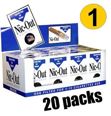 NIC OUT 20 pack Cigarette Filters 600 Tips Fiter Out Tar & Nic FREE SHIPPING