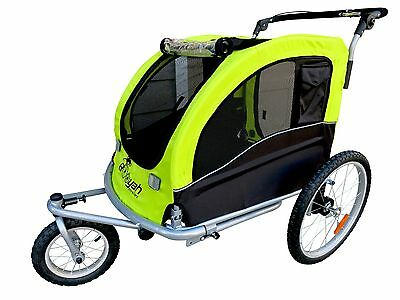 Booyah Pet Dog stroller and Bike Bicycle Trailer with Suspension Shocks - Green