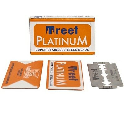 100 Treet Platinum Super Stainless Double Edge Safety Razor Blades - Smooth!