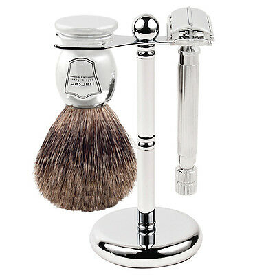 Parker 82R Shave Set - Safety Razor, Stand & 100% Pure Badger Brush Included