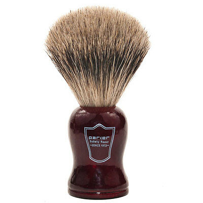 Parker Safety Razor 100% Pure Badger Shaving Brush Redwood Handle & Drip Stand