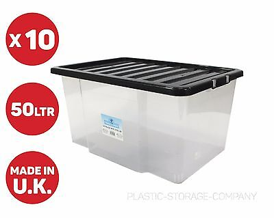 10 X 50Litre Plastic Storage Box! Quality Container With Black Lid! Stackable!