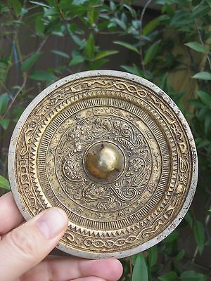 Antique Chinese gilded bronze mirror -2 dragons, Eastern Han Dynasty 25-220 AD