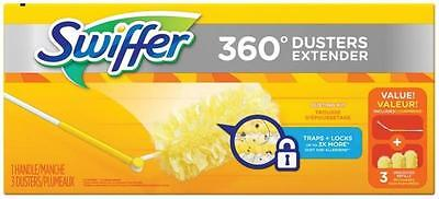 Swiffer 360 DEGREE DUSTERS EXTENDER WITH THREE REFILLS 44750 ELECTROSTATIC clean