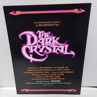 The Dark Crystal Original 1982 Press Kit Program Jim Henson Frank Oz Very Rare