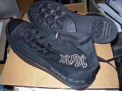 AC/DC back in black Converse Chuck Taylor All Stars Shoes Size 12 - NEW -