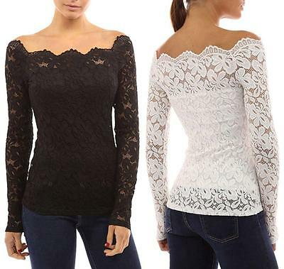 Fashion New Womens Long Sleeve Shirt Casual Lace Blouse Loose Cotton Tops Shirt