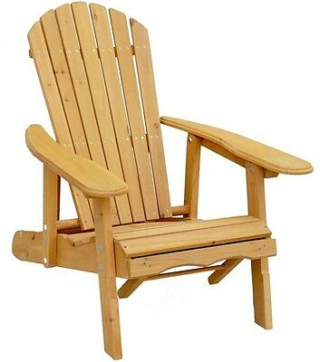 Reclining Patio Adirondack Chair With Pull-Out Outdoor Ottoman Wood Furniture