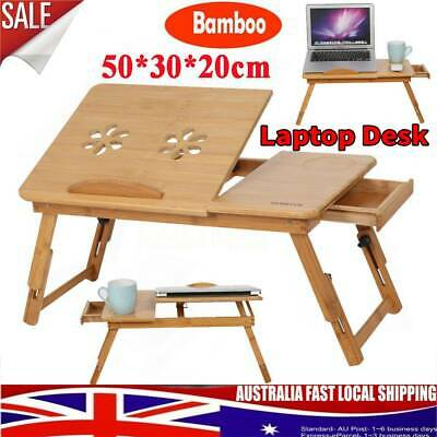 Portable Folding Laptop PC Desk Lap Bed Tray Stand Dinner Notebooks Bamboo Table