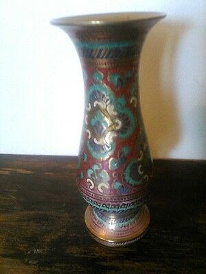 Vtg Metal Brass Ornate Hand Etched Decorative Small Vase Heavy Hand Painted