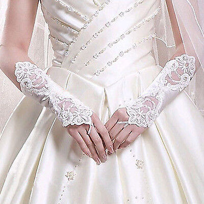 Women New White Pearl Lace Wedding Gloves Fingerless Gloves for Bride