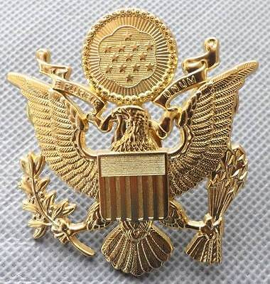 """US Army Officer Cap Eagle Badge Insigia Gold 1-3/4"""" Lapel Hat Pin"""