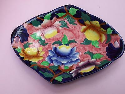 Maling Ware Bowl In Cobalt Blue & With Peonies Floral Design C.1930's