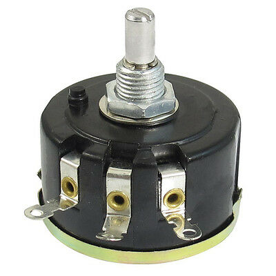 WX050 10K ohm 5W 6mm Round Shaft Rotary Wire Wound Potentiometer Black+Silver LW