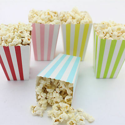 6PCS DIY Striped Shape Popcorn Candy Food Paper Boxes Party Supplies Decor