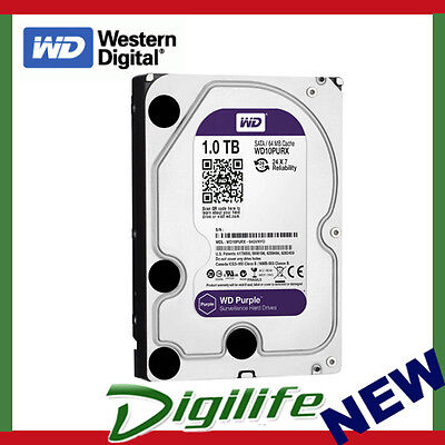 "WD 1TB Purple 3.5"" Surveillance SATA Internal Hard Drive WD10PURZ"