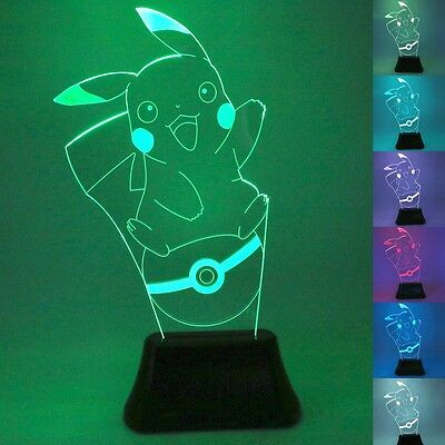 UK Pokemon GO Pikachu 3D LED Nightlight 7 Color Touch Control Desk Table Lamp