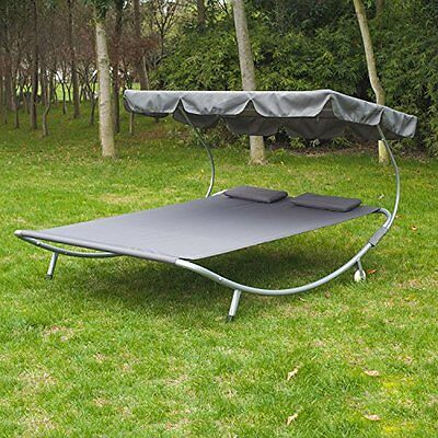 Garden Large Double Hammock Sun Patio Bed Lounger Chaise Canopy Steel Frame Grey