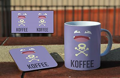 Koffing Koffee Funny Pokemon Ceramic Coffee MUG + Wooden Coaster Set