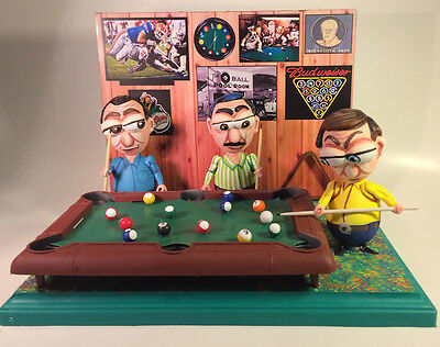 POOL PLAYERS IN A POOL HALL EGG ART CREATION- (3 figures) 1-of-a-kind