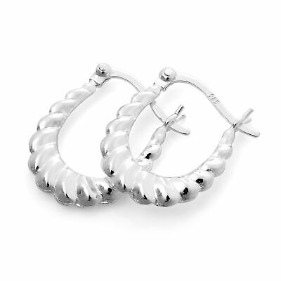 Sterling Silver Twisted Creole 19mm Hoop Earrings tYfJYqof