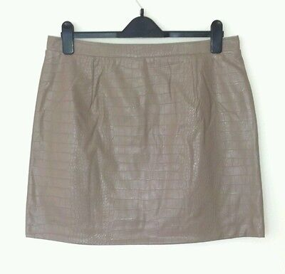 99be80719d Bnwt River Island Ladies Nero Brown Mini Skirt Leather Look Size 16 Rrp  £30.00