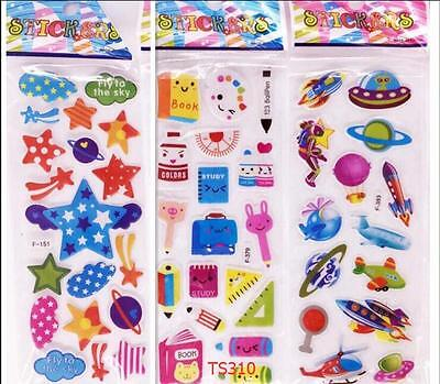 HOT3pcs/Lot Fun Puffy Cartoon 3D study Stickers Kids Crafts Gift Party toys GIFT