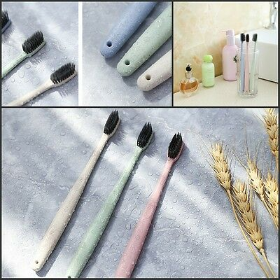 3 x Natural Wheat Straw Bamboo Charcoal Ultra Soft Toothbrush Oral Dental Care