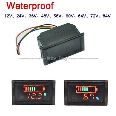 waterproof Universal LED Indicator Battery capacity Tester voltmeter DC 6-120V