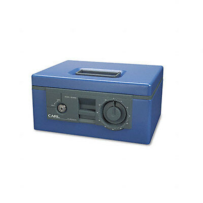 CARL Security Box w/Dual Lock, Removable Cash/Coin Tray, Steel, Blue